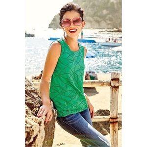 Cabi Green Eyelet Gemma Tank Top Style 5036